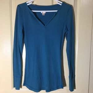 Mossimo Blue Thermal Long Sleeve V Neck Top